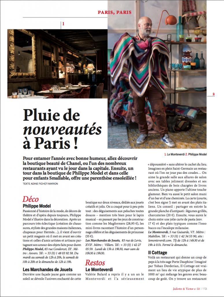 Parution - Le Monteverdi - Juliette & Victor n°53 Février - Mars 2016 - Adine Fichot-Marion p1