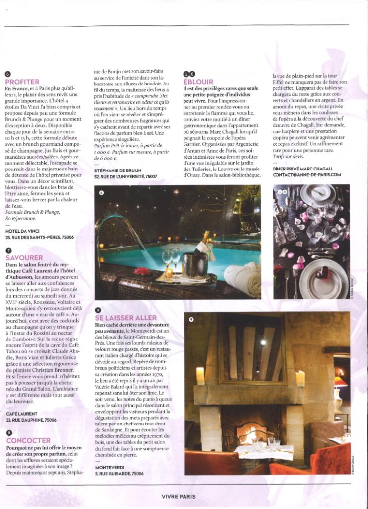 Parution - Restaurant Le Monteverdi -Vivre Paris - Hiver 2015 - Elsa Gabbi - Article